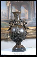signed Nick bronze statue Cherubs w/Flowers art nouveau Vase