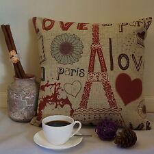 Vintage Style Cotton Linen Cushion Cover Pillow Case Love in Paris