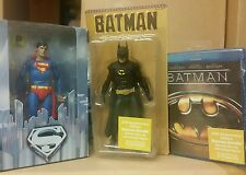 "NECA LOT Batman Keaton '89 Movie Superman '78 Reeve 7"" MIP DVD 25th Anniversary"