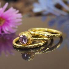 3 pcs Roman Art Pink Topaz Stack Ring Set 925k Silver 24k Gold Vermeil by Omer