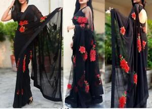 Black Bollywood Saree Party Wear Ethnic Wedding Designer Sari