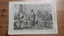 1873 Illustrazione Popolare: Le Donne Turche che fumano il Narghilè (Turkey)
