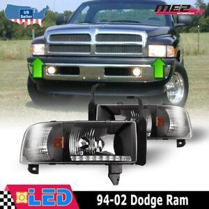Fits 94-02 Dodge Ram 1500 2500 3500 Headlights PAIR LED DRL Black Clear