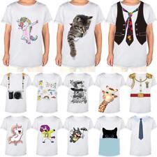 Fashion Kids Boys Girls Cotton Summer Crew T-Shirts Cartoon Print Child Tops Tee