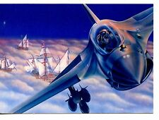 Air Force Reserve-Jet Airplane-Historic Ships-Modern Advertising Art Postcard