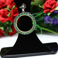 NATURAL GREEN TSAVORITE GARNET & BLUE WITH YELLOW SAPPHIRE PENDANT 925 SILVER