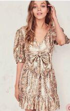 NWT$495 Love Shack Fancy Lena Dress Metallic Floral Mini Dress Gold Cinnamon S