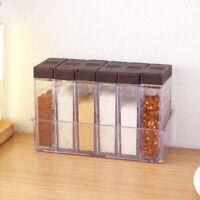 6Pcs/Set Spice Container Jar Condiment Dispenser Salt Seasoning Box Kitchen Tool