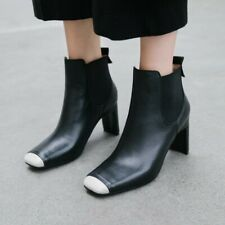 New Women Fashion Ankle Boots Square Toe Pull On 7.5cm Heels Casual Shoes Runway