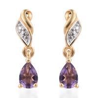 925 Sterling Silver Pear Amethyst Dangle Drop Earrings Jewelry for Women Ct 0.8