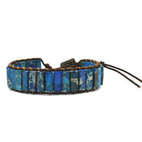 Chakra Armband Schmuck Handgefertigt Natur Stein Rohr Perlen Leder Wickel L9O7