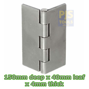 """1 pair x Heavy duty steel double flap pressed weldable 150mm 6"""" butt hinges 899T"""