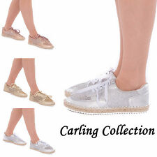 Ladies Women's Espadrilles  Fashion Glittery Lace Up Trainers Casual Pumps Shoes