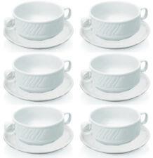 6x Suppentasse Set mit Untertasse, weiß, Porzellan, 0,3 ltr