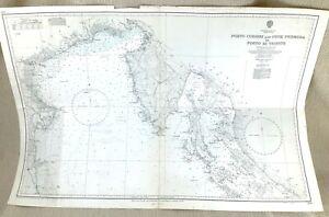 1966 Vintage Map of Italy Corsini Trieste Premuda Island Croatia Nautical LARGE