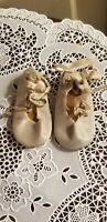 "VINTAGE SATIN BALLET DOLL SHOES TIES DOLL SHOES 2 13/16"" LONG 1 1/4"" WIDE"