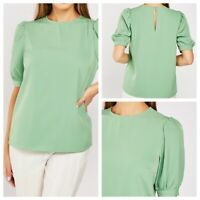 Ladies Green Top Size 20 Short Sleeve Lightweight Smart Button Plus NEW NWOT 🌹