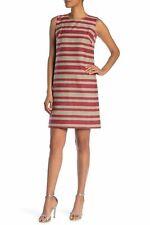 LAFAYETTE 148 NEW YORK TWIGGY WOVEN STRIPE SALSA MUTI SHIFT DRESS sz 4