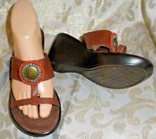 Brown w/ Beads WESTIES Clogs Mules Slip-On WEDGE ARIZONA thongs Sandals 6 Sevenl