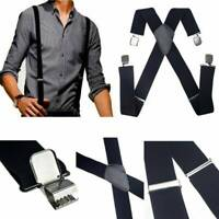 New Mens Black Elastic Suspenders Leather Braces X-Back Adjustable Clip-on UK