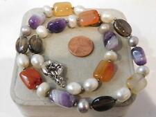 "Purple Amethyst Smoky Quartz Carnelian Agate Pearl bead strand 18"" Necklace 2i51"