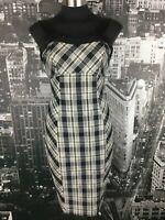 Cue Plaid Dress, Size 10, Cotton Blend, Black/ Grey/ White/ Gold