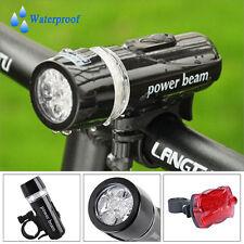 Waterproof 5 LED Lamp Bike Bicycle Front Head Light + Rear Safety Flashlight Set