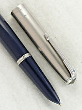 "VINTAGE BLUE PARKER ""51"" VACUMATIC FOUNTAIN PEN ~ JEWELERS BAND CAP ~ RESTORED!"