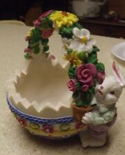"""Ceramic Bisque Large Easter Bunny with Basket roses daisies pansies 5X5"""""""