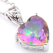 Natural Heart Shaped Natural Mystic Fire Topaz Platinum Plated Necklace Pendants