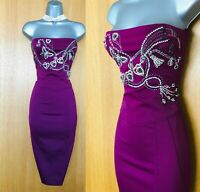 Size 12 UK Karen Millen Maroon Jewel Butterfly Beaded Strapless Pencil Dress 40