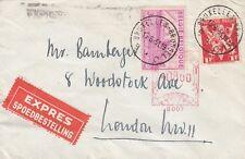 P 2406 Bruxelles juin 1951 Express Cover UK; 2 TIMBRES + compteur Mark