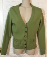 Ann Taylor Cardigan Green Women's XS Extra Fine Merino Wool blend B5