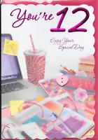 YOURE 12 TWELVE BIRTHDAY CARD,3D ATTACHMENTS,LAPTOP,SENTIMENTAL VERSE(A4