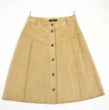 MAX MARA Beige Suede Leather A-line Button Skirt SIZE US 6/UK8