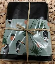 Toucan and Pineapple Black HAND TOWEL
