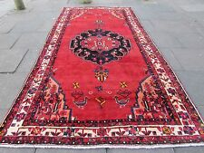 Old Traditional Persian Carpet Wool Red Oriental Hand Made Long Rug 367x192cm