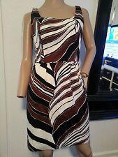 Trina Turk Striped Safari Signed White Black Brown Print Dress
