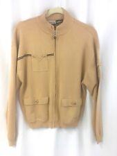 Jamie Sadock M Beige Silk Blend Sweater Zippered Women's Golf Jacket