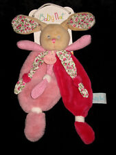Les Doudou Câlins Lapin Poupi rose vichy fleurs Babynat' Baby Nat' BN0111