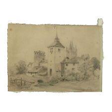 Antico originale Vittoriano Antico Disegno a matita TRE TORRI townscape firmato JR