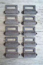 A set of 10 Edwardian cast iron label holder drawer pull furniture handles AL16