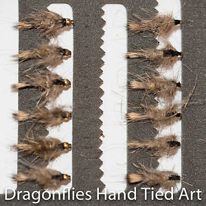 12 Barbless Gold Head & Standard Hares Ear Nymphs Fishing Flies Dragonflies