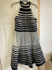 Karen Millen Silk Black Striped Dress Size 16