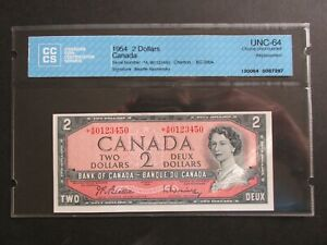 1954 $2 Bank of Canada *A/B Replacement Short Run Graded CHOICE Uncirculated 64