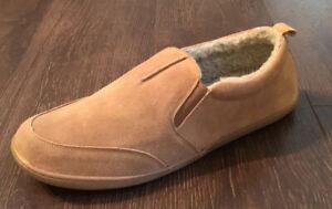 Minnetonka Men's Twin Gore Faux Sheepskin Tan Suede Slippers Moccasins Size 14