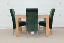 WILLIS & GAMBIER LARGE MAZE, OAK & GLASS EX DINING TABLE +6 GREEN VELVET CHAIRS