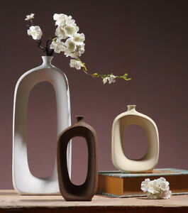 Brushed Ceramic Flower Vase Nordic Modern Style Table Vase Home Living Decor