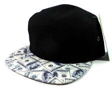 BLACK & CASH MONEY BENJAMINS PRINT 5 PANEL CAMPER HAT CAP HUNDRED DOLLAR BILLS