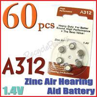 60x A312 PR41 7002ZD 1.4V Zinc Air Hearing Aid Battery